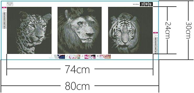 DIY 5D Diamant Painting completo, bordado pintura diamante gris Leopard Tiger patrón Crystal Strass bordado imágenes ...