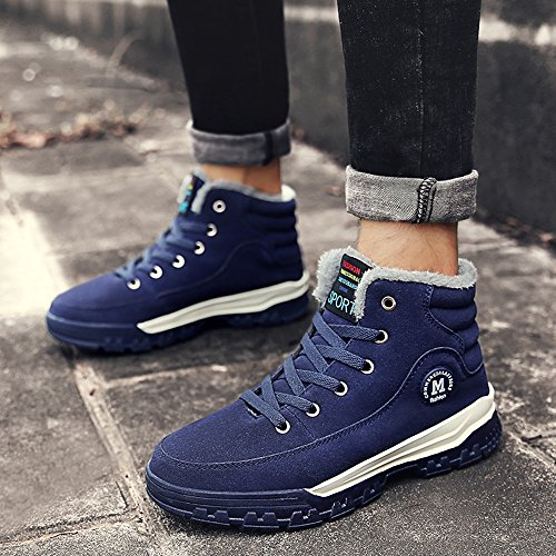 COOLCEPT Herren Winter Warm Stiefel High Top Schuhe Blue
