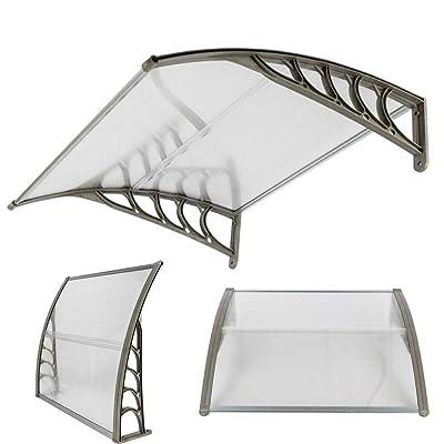 "evavo DIY 40""x 40"" Window Awning Home Garden Front Door Canopy Patio Cover Yard Gray : Garden & Outdoor"