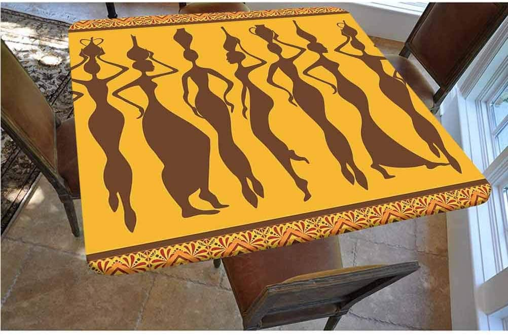 Afro Decor Polyester Fitted Tablecloth,Silhouette of Sexy Female Bodies Exotic Design Savannah Women Artwork Print Square Elastic Edge Fitted Table Cover,Fits Square Tables 48x48 Brown Merigold