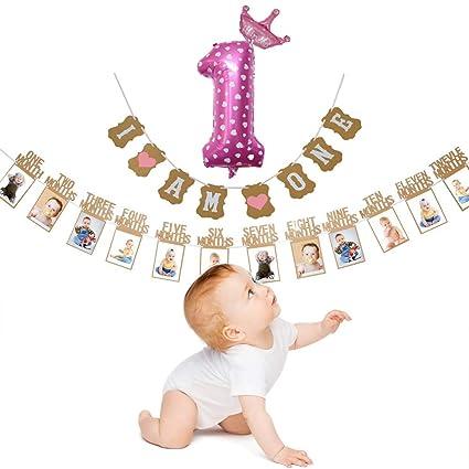 Amazon.com: Bozoa - Banderines de primer cumpleaños ...