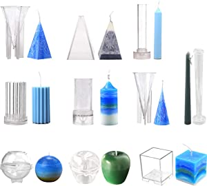 Creation Core 10pcs Candle Models Set Plastic Candle Making Kit Pillar DIY Candle Making Supplies Pyramid & Cylinder & Ball Sphere & Pillar & Apple & Square & 2 Cones & Taper