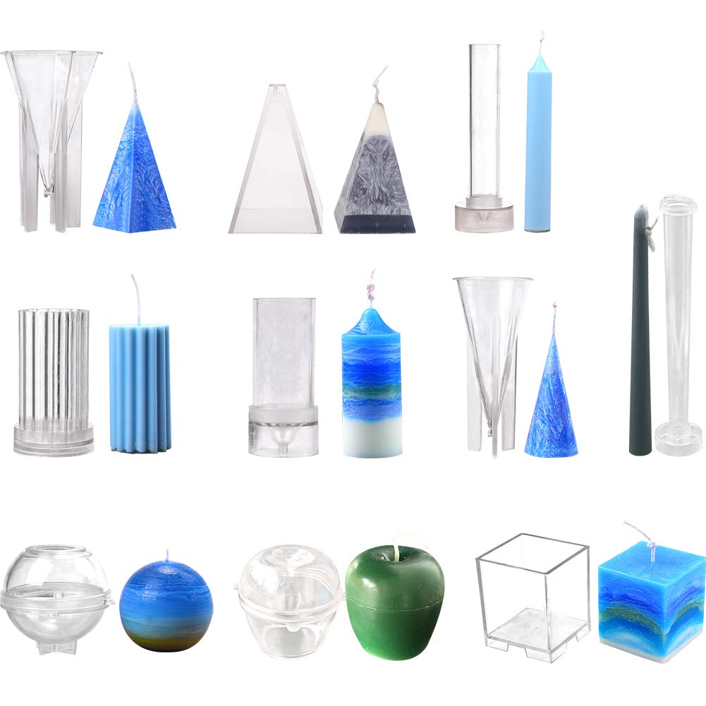 Creation Core 10pcs Candle Molds Set Plastic Candle Making Kit Pillar DIY Candle Making Supplies Pyramid & Cylinder & Ball Sphere & Pillar & Apple & Square & 2 Cones & Taper Mold