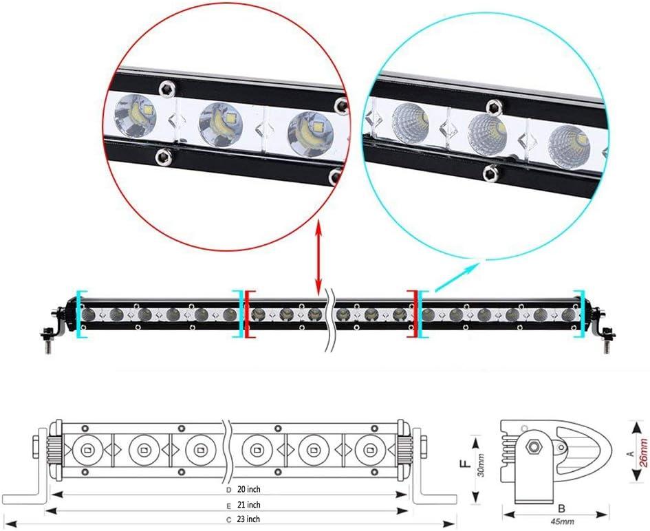 AUXTINGS 2 Pieces 4 inch 15W Ultra Slim Single Row LED Light Bar Spot Flood Beam with Mounting Bracket 4 inch 15W