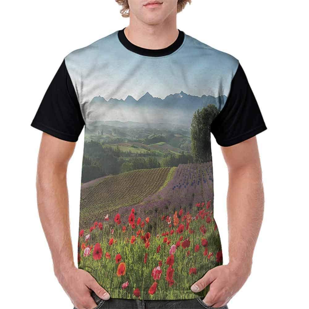 BlountDecor Performance T-Shirt,Lavender Farm Morning Fashion Personality Customization