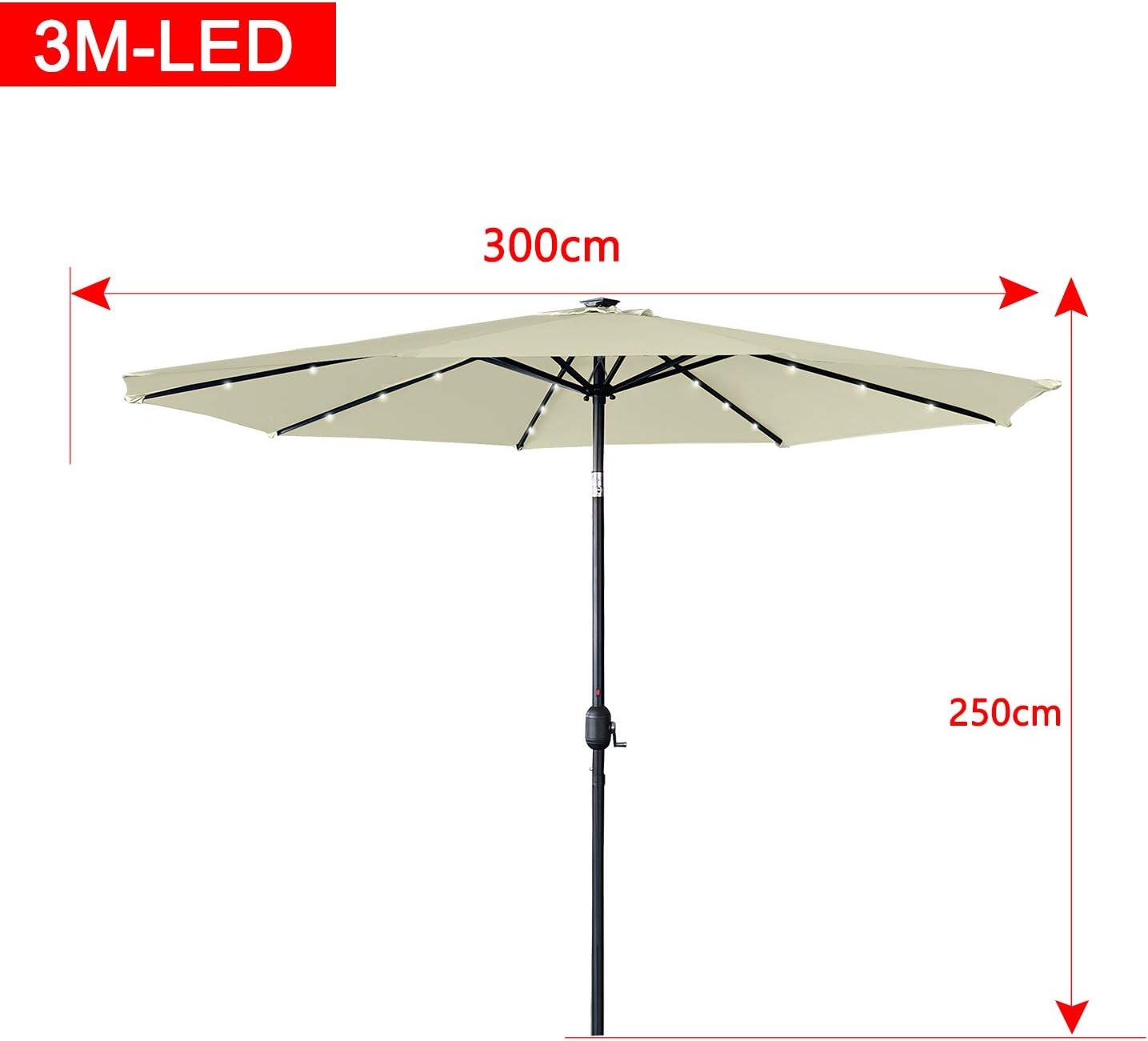 AUFUN Sombrilla con LED 300cm Di/ámetro poli/éster y Aluminio Parasol Protecci/ón UV40 Beige Altura Ajustable para terraza jard/ín Playa Piscina Patio