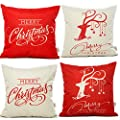 "HOSL SD12 Merry Christmas Series Blend Linen Throw Pillow Case Decorative Cushion Cover Pillowcase Square 18"" - Set of 4"