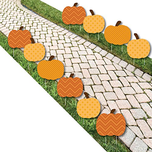Big Dot of Happiness Pumpkin Patch - Pumpkin Lawn Decoration Signs - Outdoor Fall or Halloween Yard Decorations - 10 Piece (Decorations Pumpkin Outdoor)