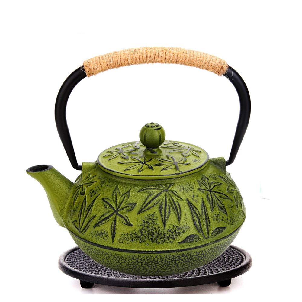 Teapot Cast Iron+Trivet, BEMINH 30 Ounce Japanese Tetsubin Tea Kettle with Stainless Steel Infuser Classic Tea Pot Stove Top with a Fully Enameled Interior for Home Kitchen Office (Green)