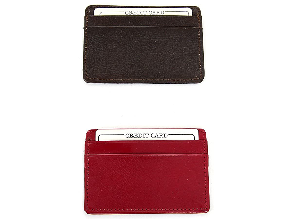 Mens Leather 4 Credit Card Holder Slip Pocket Slim Design Wallet/4x2.75 inches