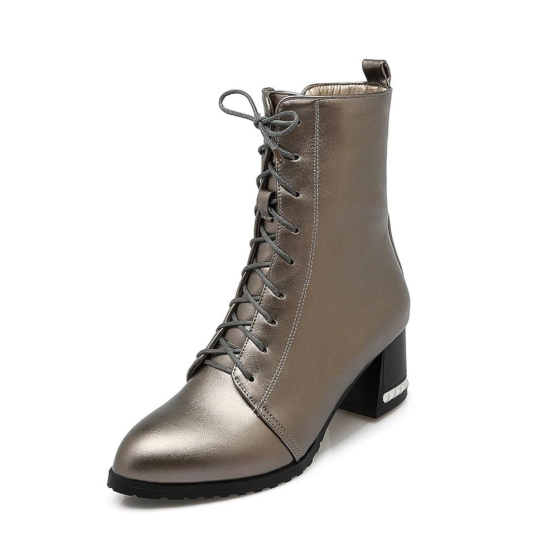 BalaMasa Girls Bandage Chunky Heels Chunky Heels Metallic Imitated Leather Boots - 9 B(M) US