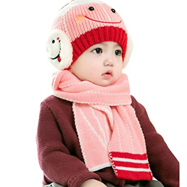 Adeeing Baby Boy s and Baby Girl s Woollen Beanie Hats and Scarf Set (Pink f093b35694eb