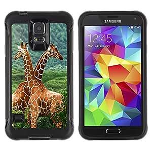 Paccase / Suave TPU GEL Caso Carcasa de Protección Funda para - The Giraffe Friends - Samsung Galaxy S5 SM-G900