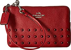 COACH Women's Lacquer Rivets Corner Zip SV/Red Currant Clutch
