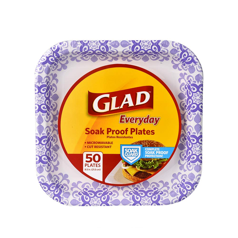 "Glad Square Disposable Paper Plates for All Occasions | Soak Proof, Cut Proof, Microwaveable Heavy Duty Disposable Plates | 8.5"" Diameter, 50 Count Bulk Paper Plates"