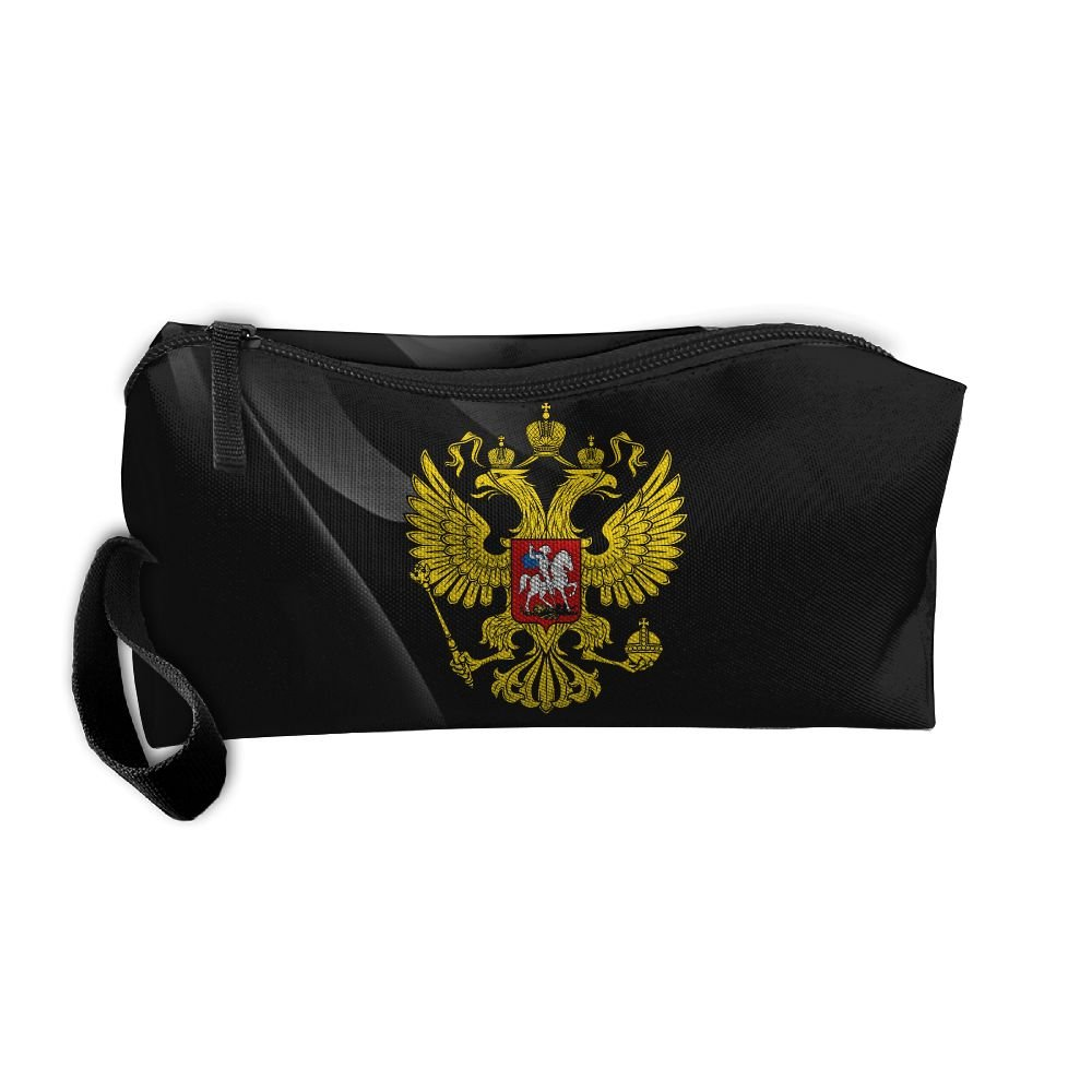 Russia's Coat Of Arms Portable Zipper Storage Bag Portable Travel Storage Bags Kits Medicine And Makeup Bags