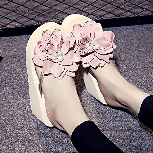 Haizhen Donne Da Anni 7cm Eu39 Beige uk6 Per Beige ragazze cn39 18 colore Sandali Di Le Dimensioni Pantofole Spiaggia Donne Donna Scarpe 40 vwg46qvEd