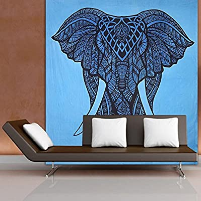Gokul Handloom Wall Hanging Elephant Tapestry Elephant Tapestries Psychedelic Hippie Boho Tapestry Wall Tapestries Bohemian Wall Decal Dorm Decor Tapestry