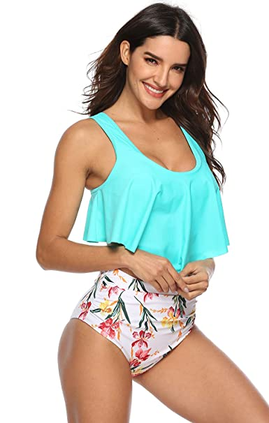 f861ae89f9 Amazon.com  fitglam Swimsuits for Women Modest Two Piece Bathing Suits with  Flounce Bikini Top and High Waisted Bottom  Clothing