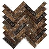 Modket TDH173MO Emperador Dark Brown Marble Stone Mosaic Tile, Crackle Glass Blended Herringbone Pattern Backsplash