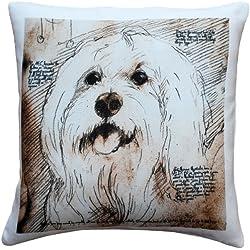 Pillow Decor Mischievous Maltese 17x17 Dog Pillow