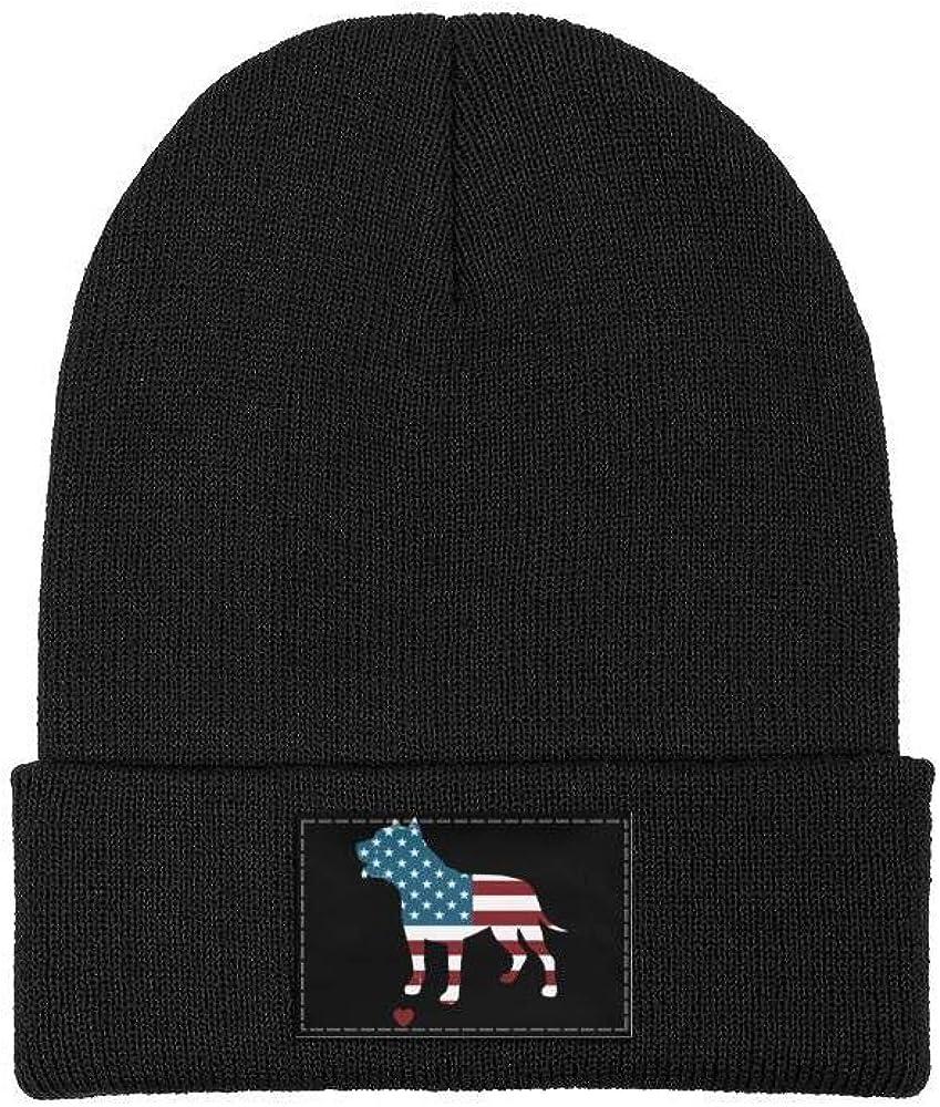 Mens Slouchy Beanie Hat Toboggan Hats American Flag Pitbull Love My Pitbull Multifunction Cap