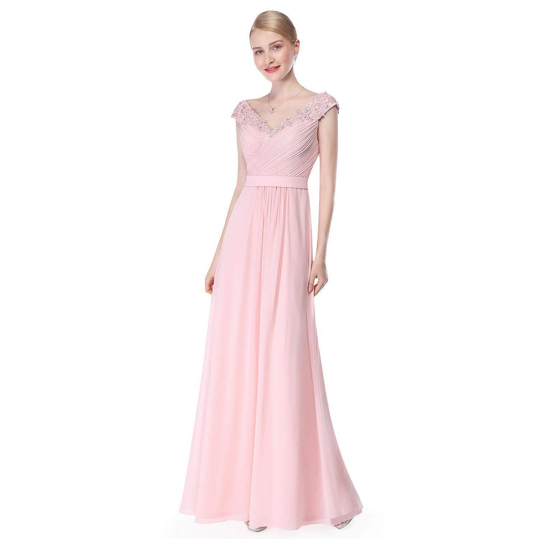 Pink Ruiyuhong Women's Aline Sleeveless Bridesmaid Dresses VNeck Wedding Party Gown