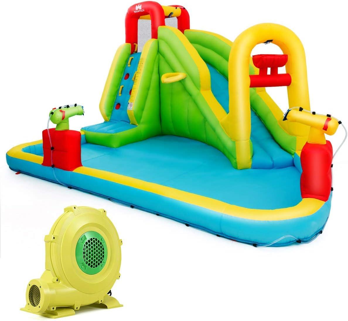 COSTWAY Parque Acuático Centro Juegos Hinchable con Tobogán 400x335x230cm Piscina para Niños con Soplador