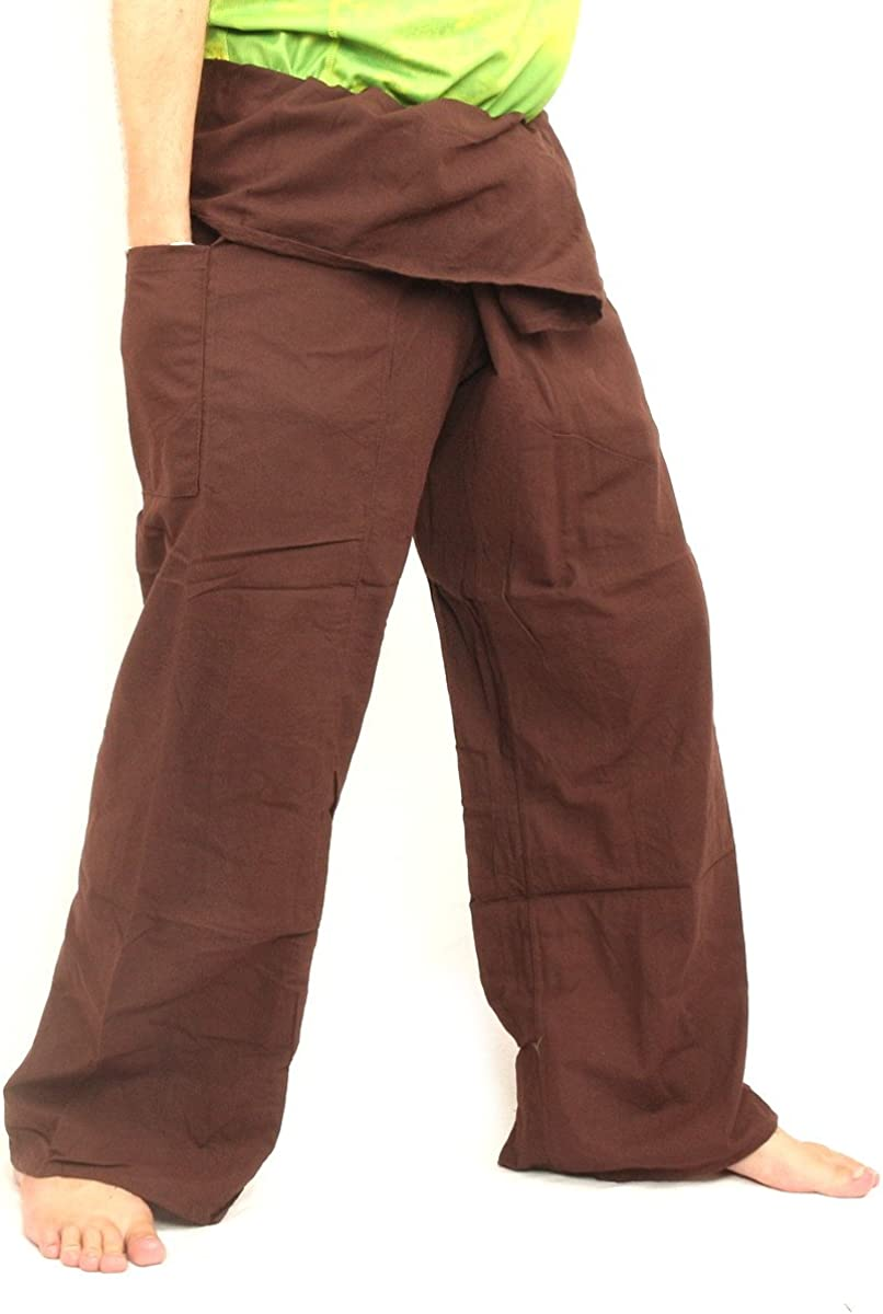 jing shop Men's Thai Fisherman Pants Cotton Solid Color with One Side Pocket X-Long