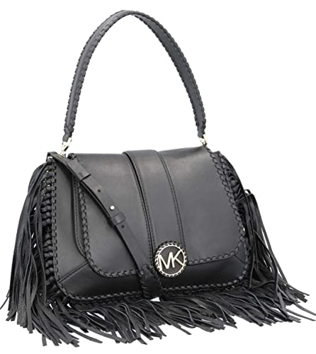 65a82e94f3cc MICHAEL Michael Kors Women's Lillie Medium Fringed Leather Bag Black One  Size: Handbags: Amazon.com