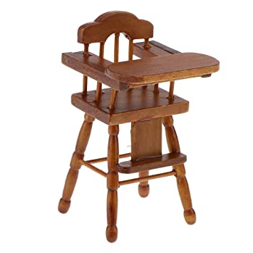 1//12 Dollhouse Wooden Folding Arm Chair Dining Room Furniture Wood Color