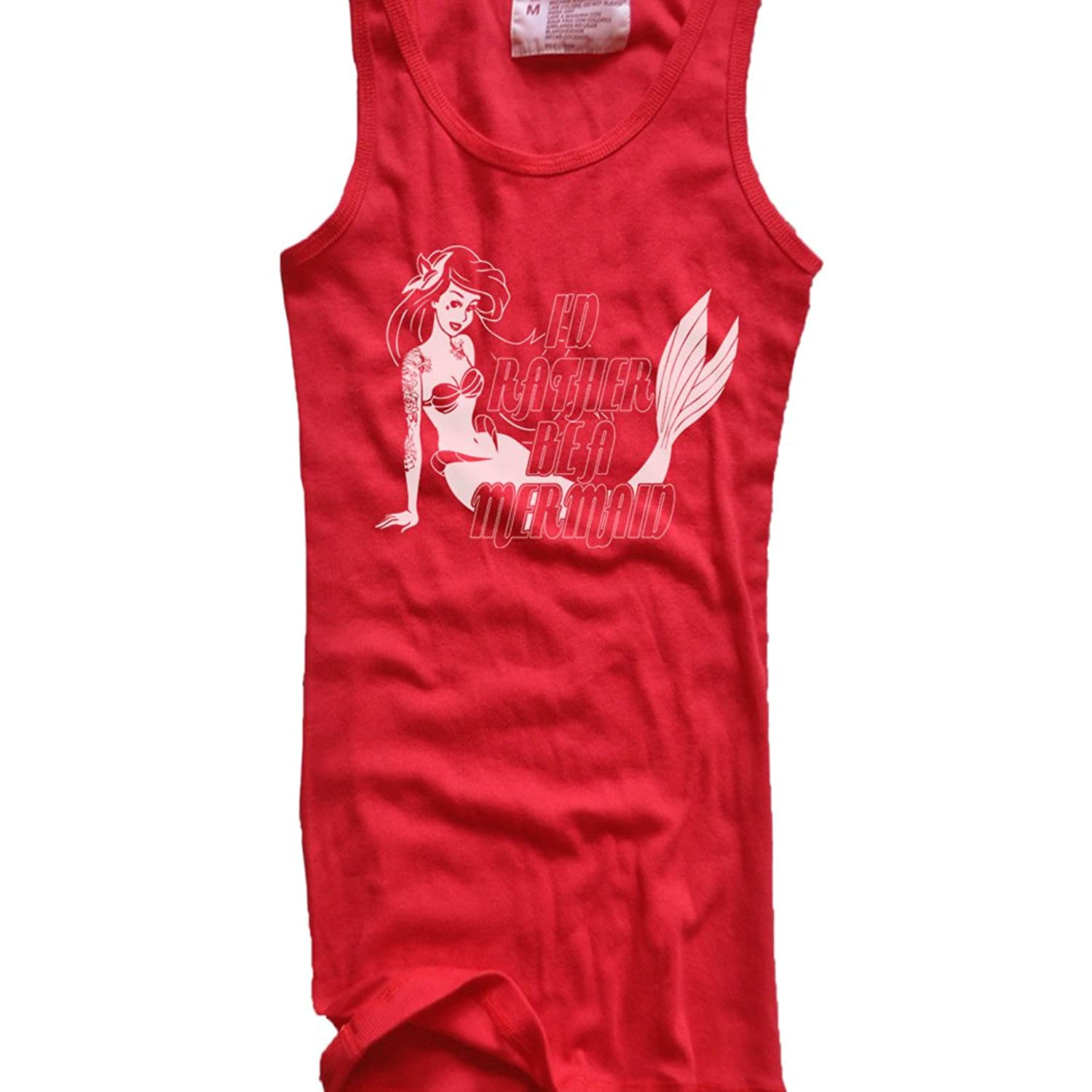 New Womens Frosty Tees I'D Rather Be A Mermain Goth Ariel Punk Ribbed Tank Top