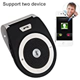 Bluetooth 4.1 Car Sun Visor,Upintek Wireless In Car Bluetooth Handsfree Speakerphone Kit Receiver Car Charger Build in Mic for for iPhone 6 6s 7, Samsung Two Device