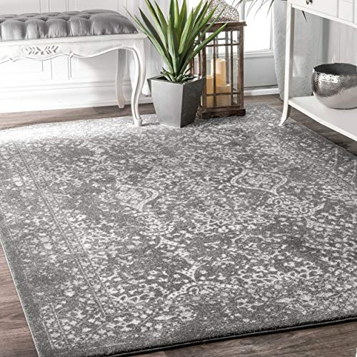 nuLOOM Traditional Vintage L Ornament Bd21 Area Rugs, 2' x 3', Silver