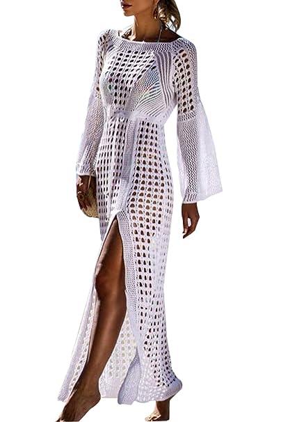 de6275526a Bikini De Mujeres Cubierta De Ganchillo Crochet Maxi Vestido De Playa Split  Manga De Campana Blanco One Size: Amazon.es: Ropa y accesorios