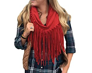 Esley 7289J Rust Infinty Fringe Scarf (One Size)
