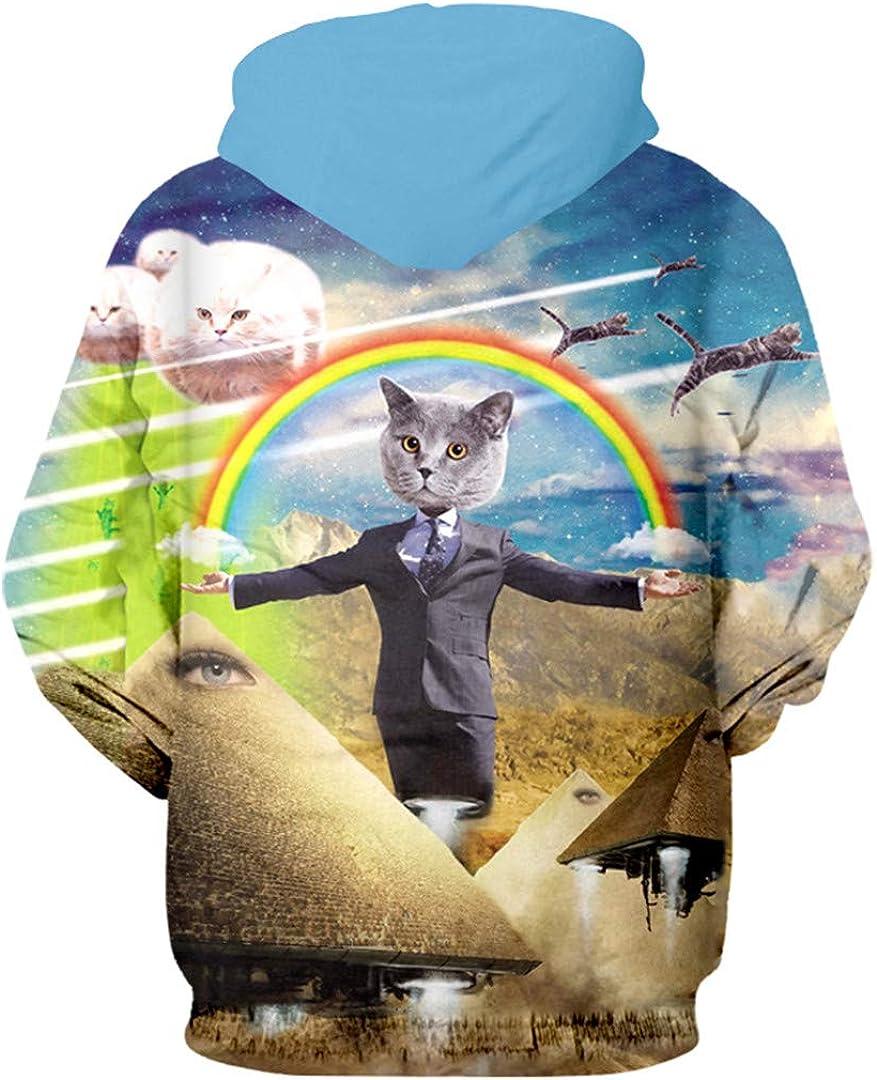 Zipper Man Long Sleeve 3D Pullover Printed Gentleman Cat Rainbow Hip Hop Hoodie Sweatshirt
