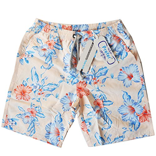 - Prefer To Life Men's Beach Patrol Hibiscus Swim Trunks,Waistband with Drawstring UPF 50+ Quick Dry Active Prints I Swim Boardshort(L Size,Pink Color)