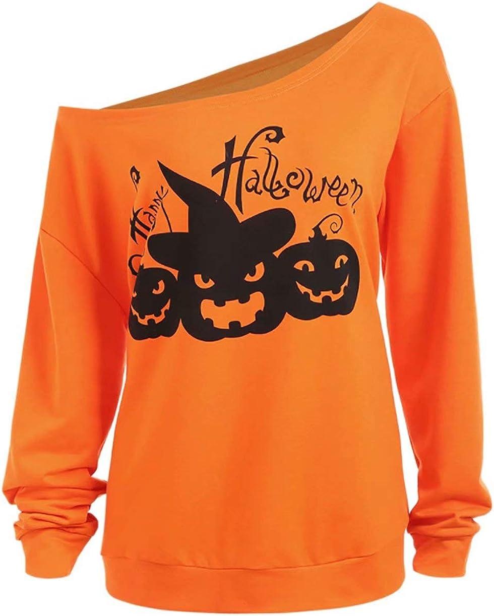 Women Halloween Off Shoulder Sweatshirts Funny Happy Halloween Pumpkin Print Long Sleeve Pullover Tops