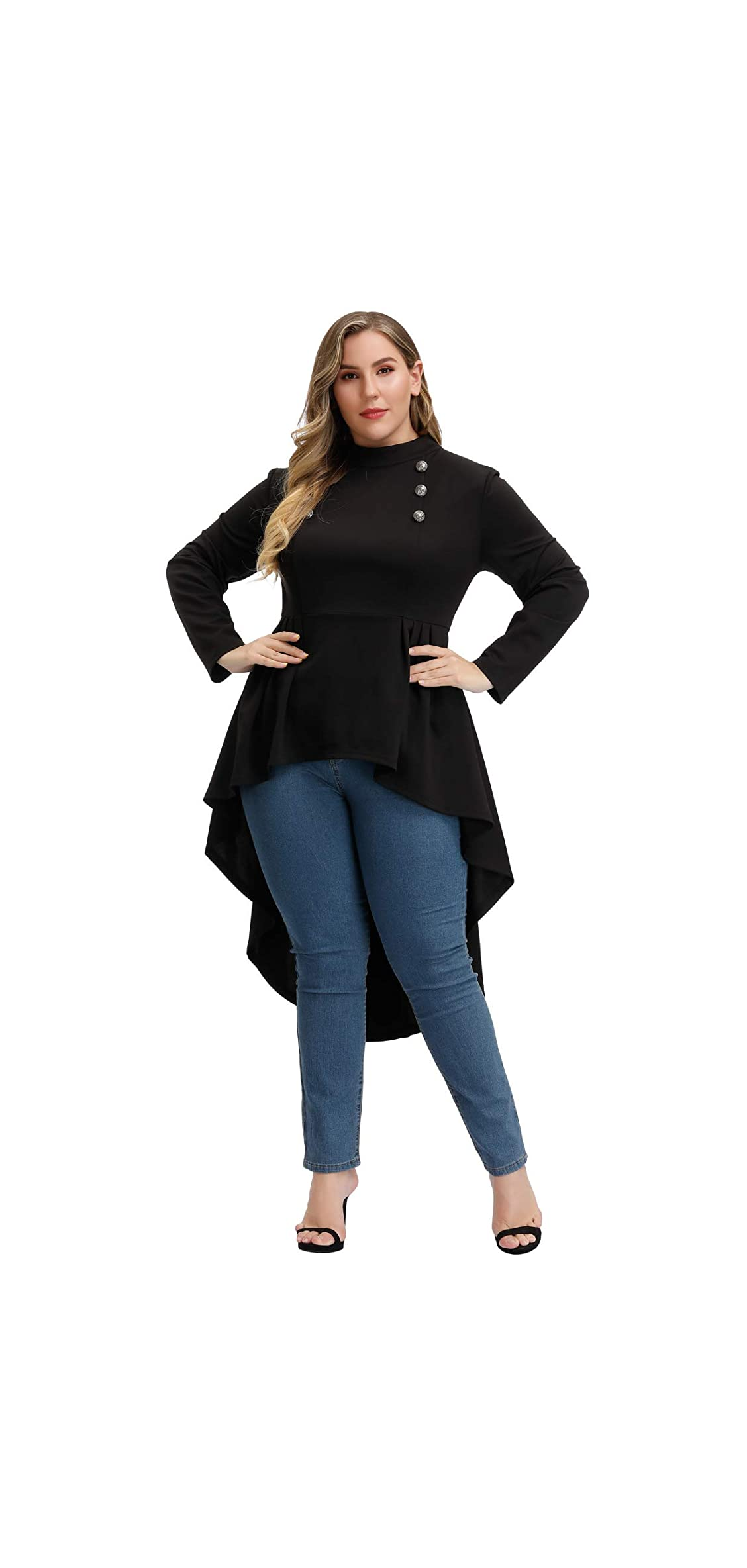 Woman Plus Size Steampunk Shirt Gothic Victorian Long Sleeve Top