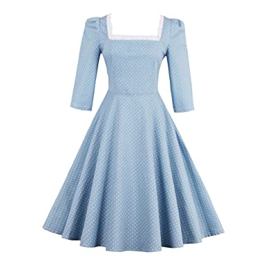 KeKeD23921 Summer Dress For Women Princess Style Vintage Dress Criss-Cross 3/4 Sleeves