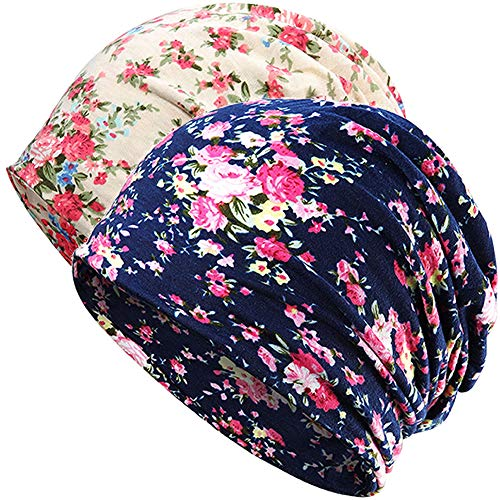 Womens Slouchy Beanie Infinity Scarf Sleep Cap Hat for Hair Loss Cancer Chemo (2pack Navy/Beige - Womens Cap Flowers