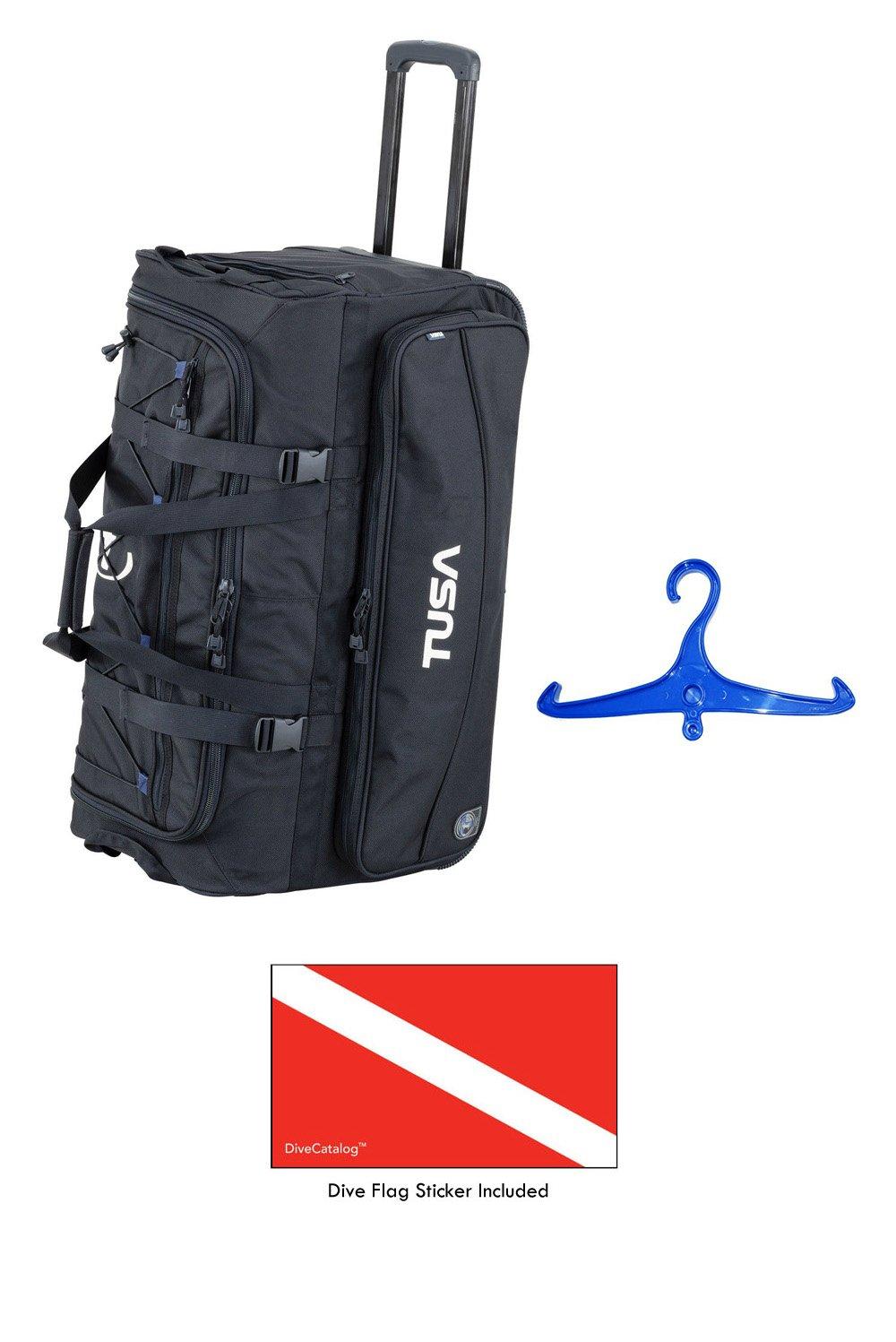 Tusa Dive Gear Roller Duffle Bag in Black w/DiveCatalog's Sticker & Blue BCD and Regulator Hanger