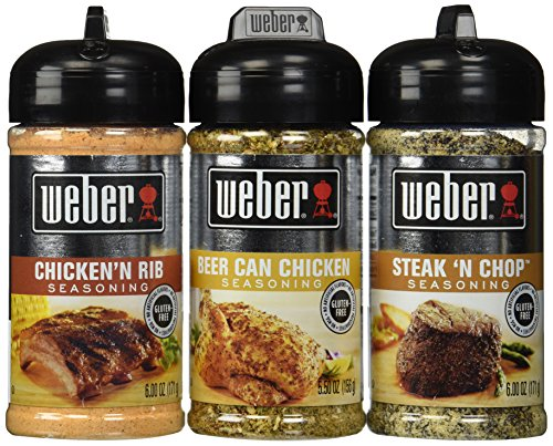 (Weber All Natural Seasoning Blend 3 Flavor Variety Bundle: (1) Weber Steak 'N Chop Seasoning Blend, (1) Weber Beer Can Chicken Seasoning Blend, and (1) Weber Chicken 'N Rib Seasoning)