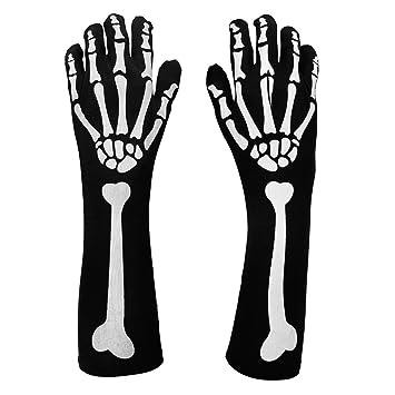 Halloween Skeleton Bone Fancy Dress Black Gloves Accessories