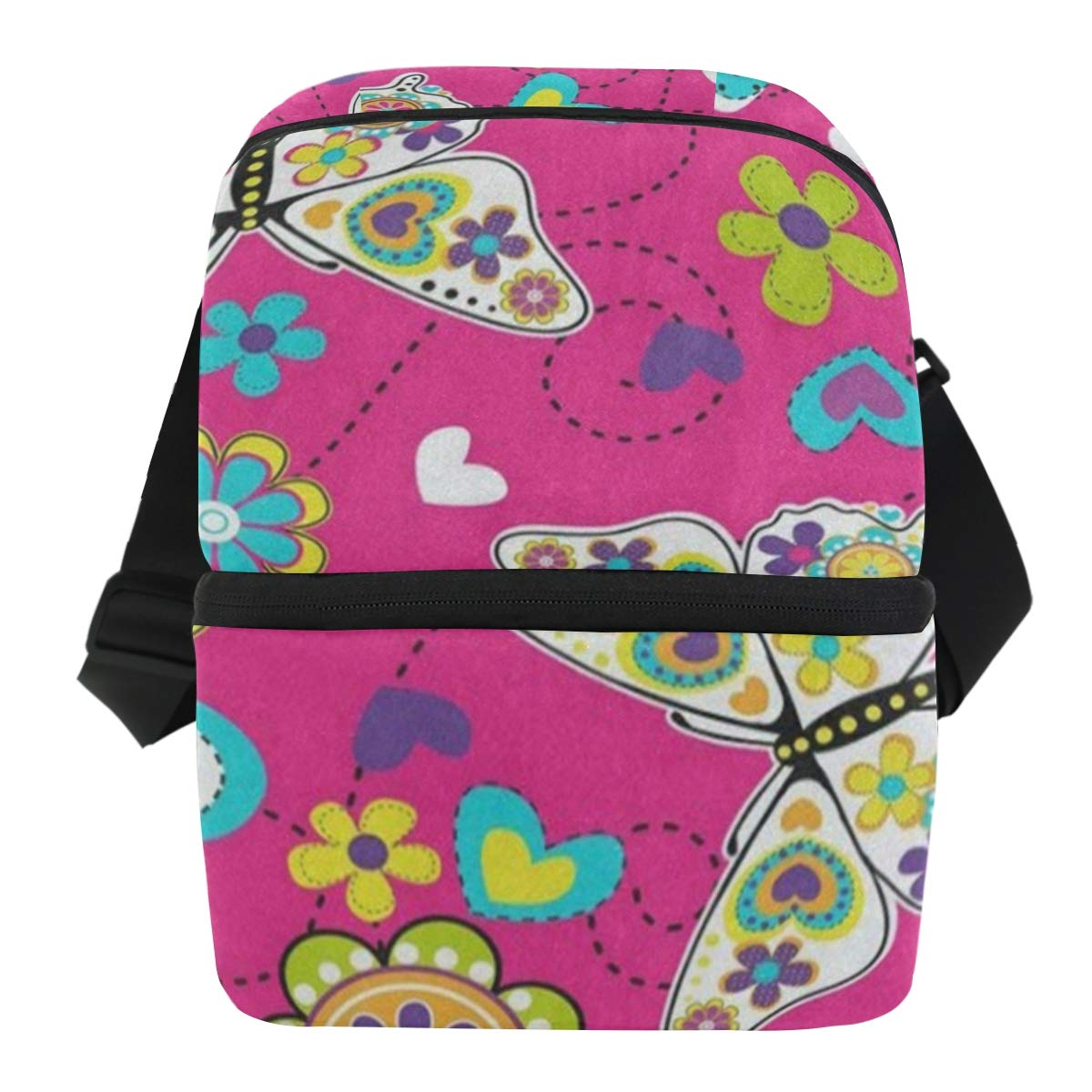 Lunch Bag Bright Floral Print Butterfly Portable Cooler Bag Mens Leakproof Thermos Box Zipper Tote Bags for Lunch