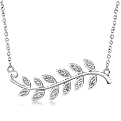 884691ef2 Amazon.com: Gem Stone King Diamond Olive Branch Leaf Rhodium Plated Brass  Necklace 16 Inch Cable Chain with 1 Inch Extender: Jewelry