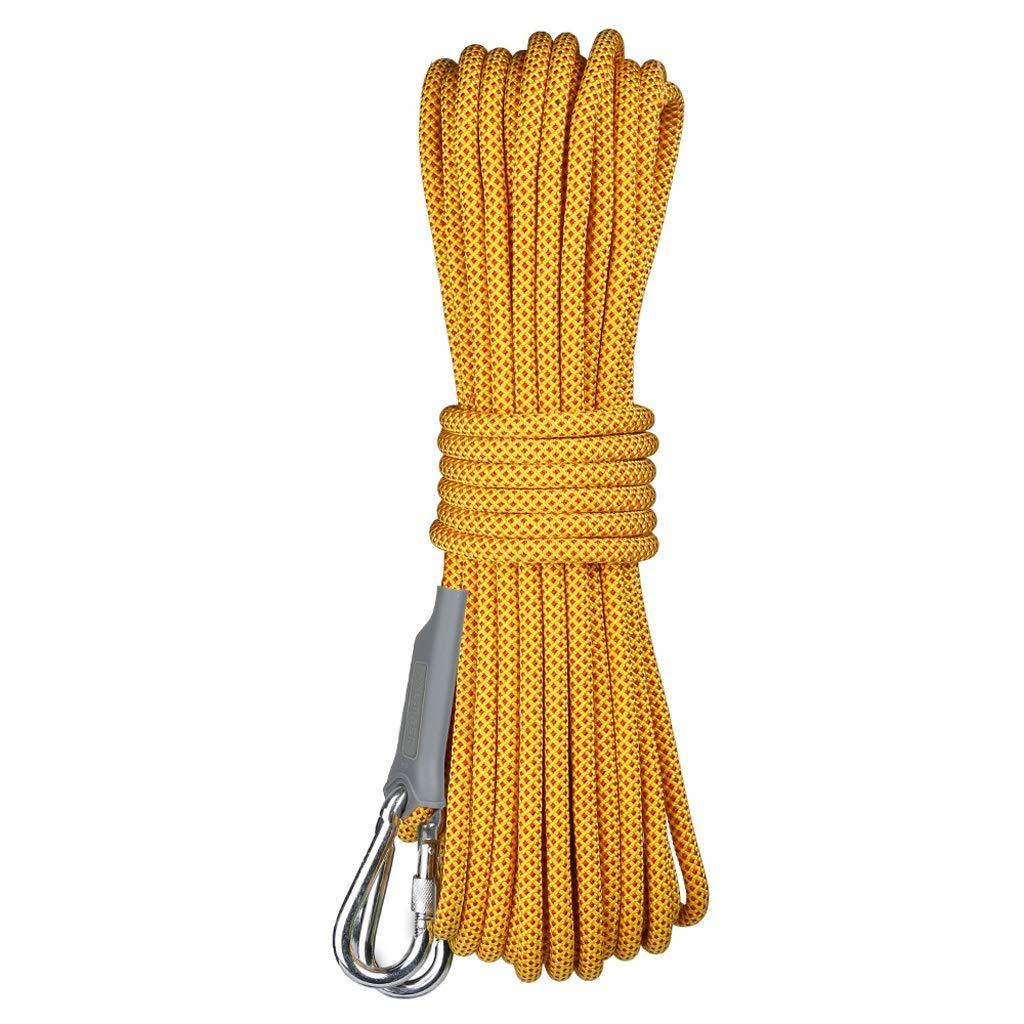 登山ロープ、直径10.5ミリメートルアウトドアマウンテンエスケープレスキューライフライン機器100メートルロング、耐摩耗安全ロープ (色 : イエロー いえろ゜, サイズ さいず : 100m) イエロー いえろ゜ 100m