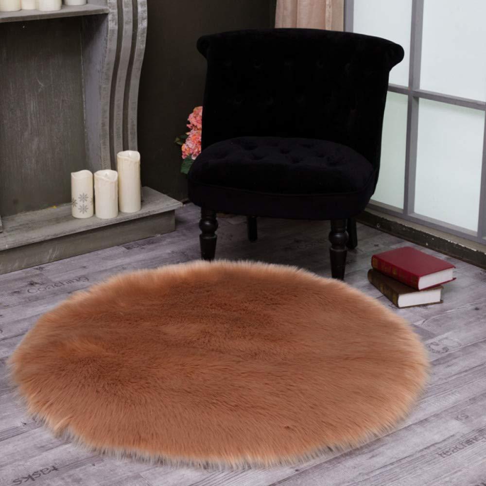 DUANG Kunstpelz Schaffell Teppich Runden Weich Und Seidig Haar 5-6cm Bereich Teppiche Sitz Rutschfeste Matten Für Stuhl Bett Sofa Boden Waschbar,Braun-130cm