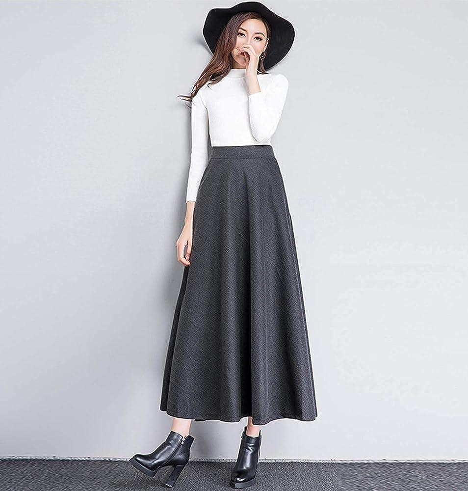 Falda de Invierno para Mujer Falda Larga de una línea de Moda ...